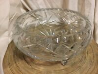 """Spectacular Brillianty Hand-Cut Etched Crystal Bowl Huge Lead 11"""" Heavy 7.5 Lb"""