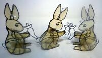 Hand Made Stained Glass 3D Bunny Lot 3 1960s Silver Hang or Sit