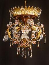 italienischer Kronleuchter Deckenlampe Glas Kristall Murano restauriert