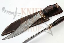HANDMADE CUSTOM DAMASCUS STEEL BLADE BOWIE KNIFE,DECRATED BULL HORN HANDLE