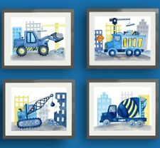 construction trucks boy nursery art prints bedroom bedding wall decor 4 pictures