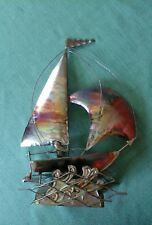 VINTAGE METAL SAIL BOAT SCULPTURE MUSIC BOX ROCKING BOAT GREAT COND