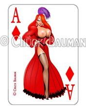Playing card style decal sexy Jessica Rabbit Saloon Showgirl pin-up sticker R