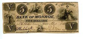 1836.    $5    Bank of Monroe  Michigan.  1835-1838