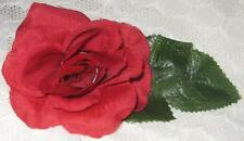 Red Rose/Green leaves Flower Barrette~Handcrafted Hair Clip