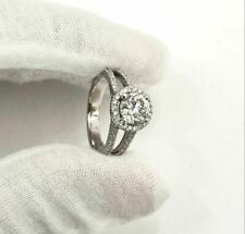 DIAMOND ENGAGEMENT RING 2 1/4 CARAT ROUND D SI1  HALO 18K WHITE GOLD SPLIT SHANK