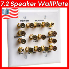 Speaker Wall Plate 7.2 Surround Sound System Face Plate Binding Posts + 2 RCA