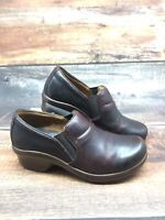 Ariat Sutter Dark Brown Leather Slip On Clogs Wedge Shoes Women's US 7.5 B