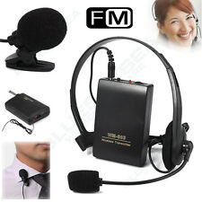 Wireless FM Transmitter Receiver Lapel Clip & Head-worn Mic System Z46