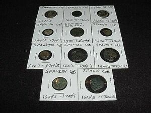 REDUCED! QTY 11 1600's - 1700's SPANISH COPPER COB COINS #2 CHEAP  selectvintage