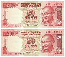 India 20 Rupees 2013 P103f 2 Unc Sequential Notes Gandhi, palm trees