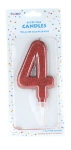 """Large Glitter Number #4 Happy Birthday Candle Cake Topper 5"""" Decoration"""