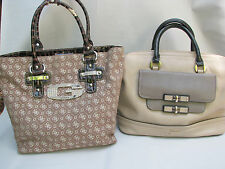 Lot 2 Canvas Leather GUESS Rhinestones Decor Shoulder Bag Satchel Handbag