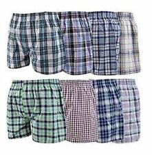 Mens Woven Check Print Boxer Shorts Underwear Plain Trunks Assorted Colour Pack of 3 3xl