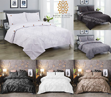 Pintuck Pinch Quilt Duvet Cover Bedding Set Single Double King With Pillowcase
