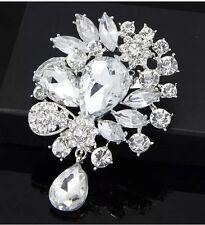 Gorgeous Luxury Large Clear Austrian Crystal Rhinestone Wedding Brooch US Seller