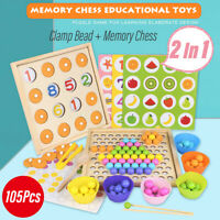 Clip Beads Math Game Set Wood Toy Kids Hand Brain Chopsticks Training Teaching