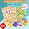 Clip Beads Math Game Set Wood Toy Kids Hand Brain Chopsticks Training Teaching