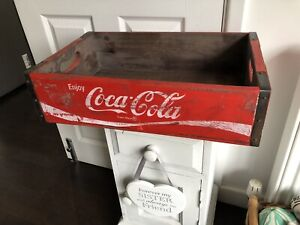 Solid Red Vintage Style Wooden Coca Cola Crate Tray Wood Box 46x31cm