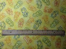 Paddington Bear cotton fabric  4. yards. RARE!  Beautiful yellow color!
