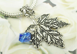 Sapphire Crystal Maple Leaf Charm  made with Swarovski Elements Europen Style