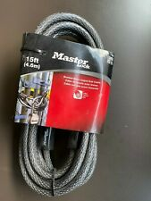 New listing Master Lock 15ft Braided Steel High Performance Cable With Looped Ends 72D New!