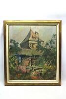 Stadtmauer mit Turm und Blumen Ölgemälde Willi Foerster Rothenburg