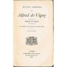 ŒUVRES CHOISIES de Alfred de VIGNY Poésie Prose Analyses par Étienne TRÉFEU 1928