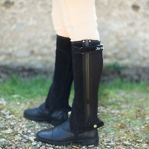 Just Chaps Adult Equestrian Classic Suede Horse Riding Half Chaps Black & Brown