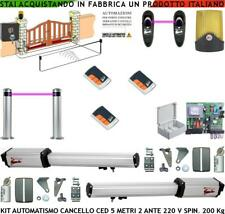 CANCELLO AUTOMATICO 5 MT 2 ANTE KIT CED 220 V 3 RADIOC 2 FOTO 2 PALIN FARO SELET