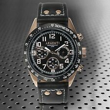 NEW Argenti 1369M Mens Damar Series Multi-Function Rose Gold Black Leather Watch