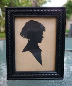 SWEET ❤ Vintage Hand Cut Silhouette of Young Girl in Frame~ unsigned from 1950's