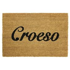 JVL Croeso Cymru Welsh Welcome Natural Coir Latex Backed Door Mat - 40 x 60 cm