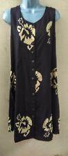 Hawaii Batik Tank Dress Black Hibiscus Button Front Hippie Boho. XXL