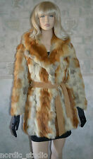 RETRO Genuine Golden Red Fox Fur Coat Jacket, sz Small, real textured fur