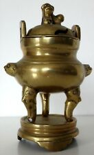 Ancien brule parfum chien fo Antique censer chinese incenser bronze foo dog XIX