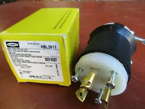 Hubbell HBL2611 Plug 30 Amp 125 Volt 2 Pole 3 Wire Grounding (A693)