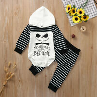 Toddler Infant Baby Boy Girl Striped Hooded Romper Pants Halloween Outfits Set