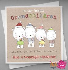 Personalised Christmas Card Grandchildren, Grandson, Granddaughter, Vintage Cute