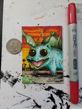Bulbasaur inspired Sketch Card inked & Colored Original by Kenneth Hutcheson