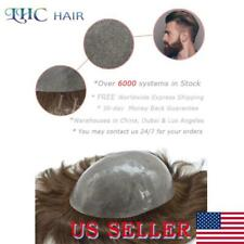 Mens Toupee All Color Thin Skin Remy Hair Replacement System Transparent Poly