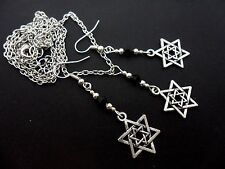 A TIBETAN SILVER STAR OF DAVID  THEMED NECKLACE/EARRING SET. NEW.