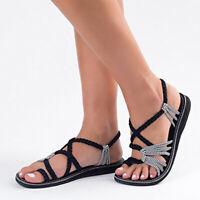 Womens Bohemian Flat Flip Flops Girls Sandals Summer  Lace Up Casual Beach Shoes