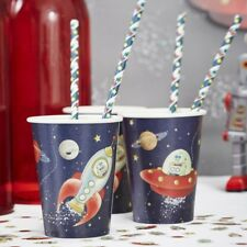 PAPER CUPS - SPACE ADVENTURE PARTY, Rocket Robot Birthday Party Tableware Deco