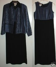 Coldwater Creek 4P Long Navy & Black Dress & textured jacket set outfit XC