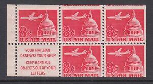 US Sc C64b MNH. 1962 8c Jet Airliner, miscut booklet pane of 5, fresh, VF