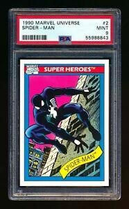 1990 MARVEL UNIVERSE #2 SPIDER MAN (BLACK COSTUME) SUPER HEROES PSA 9 MINT!