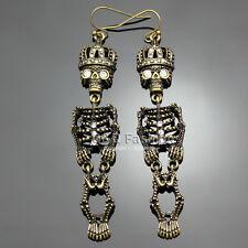 Vintage Gold Movable Skull Skeleton Queen Crown Dangle Earrings Fancy Dress