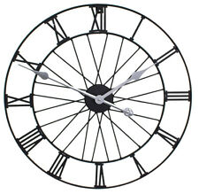Primrose GG0006 Bicycle Wheel Metal Garden Clock, Outdoor, Black, Numeral, Battery