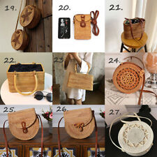 US Women Straw Bag Hand Beach Rattan Shoulder Bags Bamboo Handbag Bags Crossbody